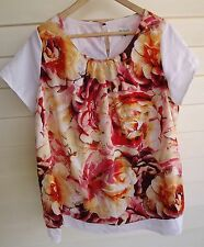 Millers Women's White & Red Yellow Orange Floral Print Short-Sleeve Top - Sz 18