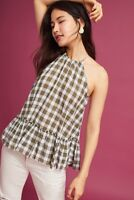 NWT Anthropologie Cloth & Stone Green Cotton Gingham Halter Top L
