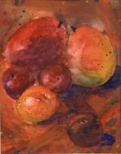 """Still Life with Mango and Plums, """"Hot Fruit"""",watercolor matted to 11x14, signed"""