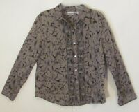 Chico's Women's Button Down Top Shirt Size 2 Brown Black Floral Long Sleeve