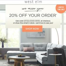 20% off WEST ELM entire purchase coupon code FAST in stores/online Exp 4/13 15