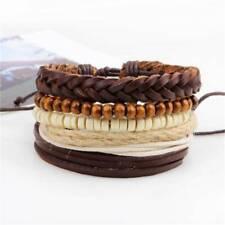 Men's Boys Leather Bracelet Mens Wristband Stainless Steel Braided Rope Wrap J