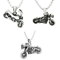 High Polished Silver Stainless Steel Motorcycle Biker Pendant Necklace Charms
