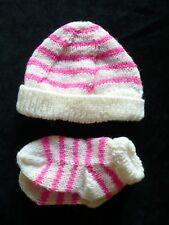 Handmade Knit  Baby Socks & Hat Set (0-3m)
