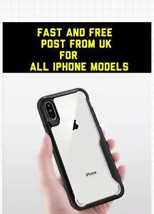 iPhone 11 PRO MAX XR  X  XS MAX  7 8 Plus Clear Back Shockproof  Case (Black)