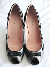MARC JACOBS*LOVELY!! QUILTED SILVER GRAY BOW TRIM PUMPS HEELS SHOES*39 9