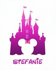 DISNEY CASTLE MICKEY MINNIE  MOUSE  PERSONALIZED T-SHIRT IRON ON TRANSFER