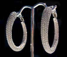 12 ct Micro Pave Hoop Earrings Top Russian Quality CZ Bling! Bling! Bling!