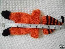 "Doll Clothes Hand-knit Orange-black Footed Sleeper Fits 7"" to 8"" ooak Baby Dolls"