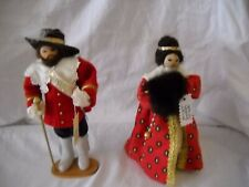 Set Of 2 Fain A La Main Wooden Dolls French Man Woman Wooden Faces Red Clothes