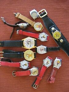 """11- CHARACTER WATCHES FOR PARTS OR FIX """"SNOW WHITE/CINDERELLA/ MICKEY MOUSE"""