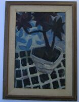 FRENCH ? RUSSIAN? MID CENTURY MODERN PAINTING ABSTRACT EXPRESSIONISM FLOWERS VTG