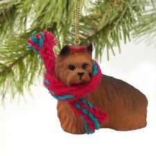 YORKIE w/ Scarf dog HAND PAINTED Resin FIGURINE CHRISTMAS HOLIDAY ORNAMENT NEW