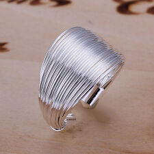 Fashion Jewelry 925Sterling Silver Many Lines Men Women Ring Size open up RY018