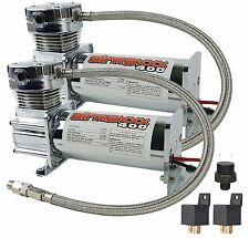 2 Air Compressors Chrome AirMaxxx 400 Air Suspension System Dual Pack 120/150