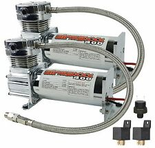 Two Air Compressors Chrome AirMaxxx 400 Air Suspension System Dual Pack 90/120