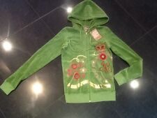 NWT Juicy Couture New & Genuine Ladies Small Green Velour Hoody With Juicy Logo
