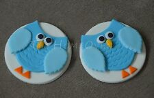 12 X Edible owl / Hoot Cupcake Toppers /Decorations For Birthday,Baby Shower