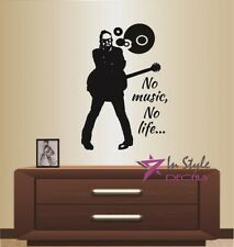 Vinyl Decal No Music No Life Quote Musician Guy Guitar Player Wall Sticker 939