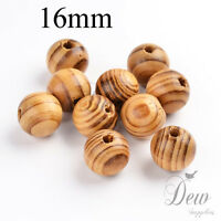 50 x 16mm wood beads unpainted wooden ball round burly wood
