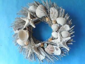 White Sea Shell Wreath - Coastal Home Decor