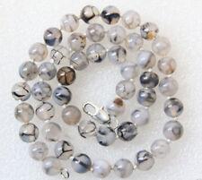 36'' 8mm Natural White Black Dragon Veins Agate gemstone Bead Necklaces PN1122