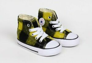 Converse Chuck Taylor All Star Black Yellow Buffalo Plaid Hi Top Shoes Size 3