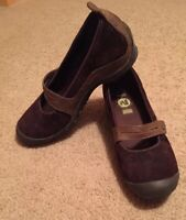 Womens SHOES SIZE 9 Brown Leather Suede Mary Jane SLIP ON Heels Vedge MERRELL