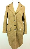 Womens Next Wool Blend Boucle Cream Beige Button Up Ladies Coat Jacket Size 14