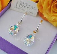 925 STERLING SILVER EARRINGS CRYSTALS FROM SWAROVSKI® ALMOND CRYSTAL AB 16mm