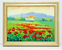 Red Poppies Farm Landscape 12 x 16 Oil Painting on Canvas w/Custom Frame