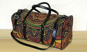 New Indian Cotton Luggage Bag Sports Duffel Bag Adjustable Strap Handmade Ethnic