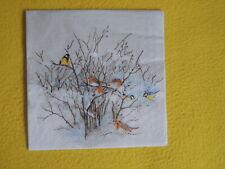5 Servietten Winter Vögel Meisen Serviettentechnik BIRDS Weihnachten Rotkehlchen