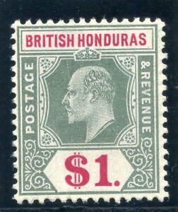 British Honduras 1907 KEVII $1 grey-green & carmine MLH. SG 91. Sc 69.
