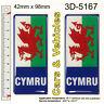 2x CYMRU Number Plate Blue Stickers Decals Badges Wales Welsh Flag Resin Domed