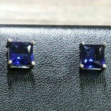 2Ct Princess Cut Blue Sapphire Solitaire Stud Earrings 14k White Gold Finish