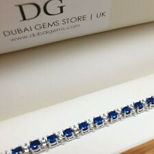 White gold finish blue sapphire created diamond tennis bracelet gift boxed