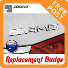 Replacement AMG Badge Emblem Logo Sticker for Mercedes Benz - Gloss Silver