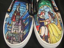 Women's M 7-8 Disney Beauty And The Beast Stained Glass Belle Rose Slip On Shoes