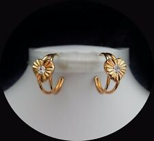Vintage Fashionable Golden Earrings with Clear Australia Crystal E6A89