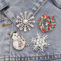 Christmas Snowflake Snowman Enamel Brooch Pin Xmas Party Jewelry Gift