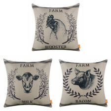 Vintage Style Farm Pig Bacon Rooster Wreath Milk Cow Cushion Cover Pillow Case