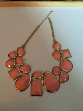 Necklace Statement Fashion Jewelry Collar Charm Gold Ton Bezel & Faceted