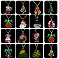 Enamel Jewelry Santa Claus Xmas Tree Pendant Necklace Christmas Chain Charms New