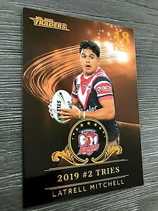 2020 NRL TRADERS BRONZE 'LEAGUE LEADERS' TRADING CARD- LATRELL MITCHELL/ROOSTERS