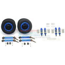 GPM F/R Alum Shocks+Steel #45 Axles+Spring Hex+Tires/Rim Blue : Rustler 4x4 VXL