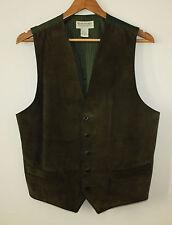 Banana Republic Vintage Safari And Travel Heavy Suede Leather Vest Waistcoat Sml