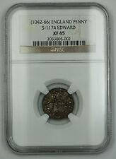 1042-66 England Trefoil Penny Silver Coin S-1174 Edward NGC XF-45 AKR