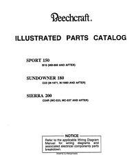 Beechcraft SPORT 150 SUNDOWNER 180 & SIERRA Aircraft Illustrated Parts Catalog !