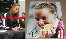 AMANDA BEARD SIGNED 8X10 GOLD MEDAL PHOTO *COA* USA SWIMMING AUTHENTIC AUTOGRAPH